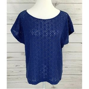 Ruby Rd Lace Top Short Sleeve Pullover Solid Blue